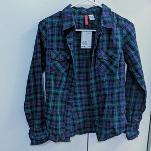 New Teal Purple Plaid Cotton Button Down Shirt